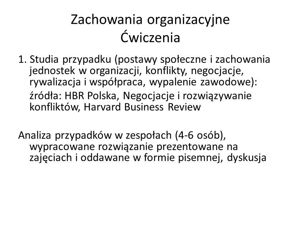 Zachowania organizacyjne Ćwiczenia 1.