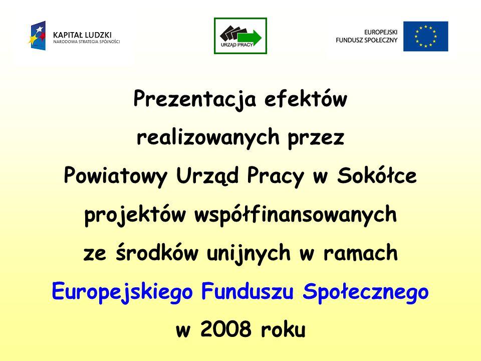 Prezentacja efektów realizowanych przez Powiatowy Urząd Pracy w Sokółce projektów współfinansowanych ze środków unijnych w ramach Europejskiego Funduszu Społecznego w 2008 roku