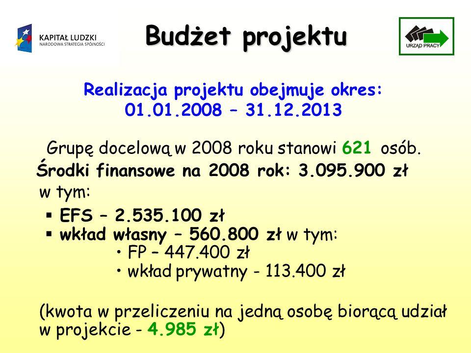 Budżet projektu Realizacja projektu obejmuje okres: 01.01.2008 – 31.12.2013 Grupę docelową w 2008 roku stanowi 621 osób. Środki finansowe na 2008 rok: