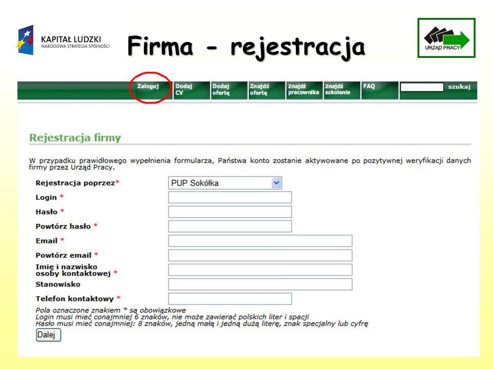 Firma - rejestracja