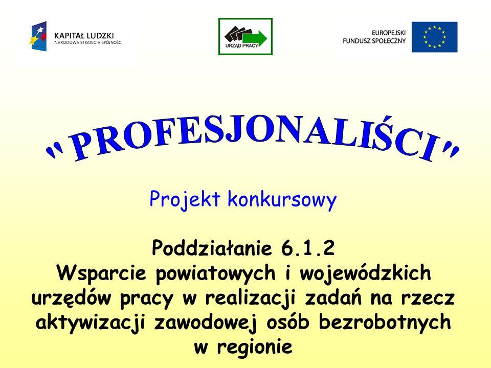 Projekt konkursowy Poddziałanie 6.1.2 Wsparcie powiatowych i wojewódzkich urzędów pracy w realizacji zadań na rzecz aktywizacji zawodowej osób bezrobotnych w regionie