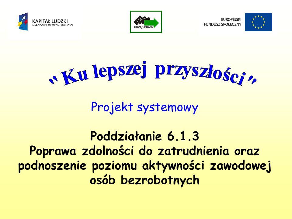 Projekt systemowy Poddziałanie 6.1.3 Poprawa zdolności do zatrudnienia oraz podnoszenie poziomu aktywności zawodowej osób bezrobotnych