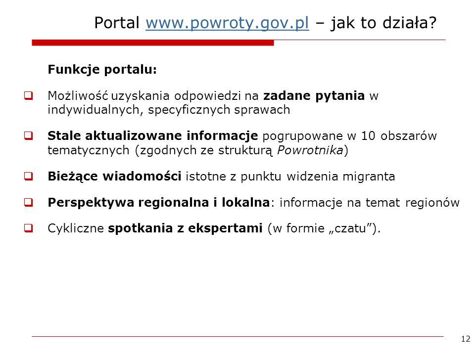 12 Portal www.powroty.gov.pl – jak to działa?www.powroty.gov.pl Funkcje portalu: Możliwość uzyskania odpowiedzi na zadane pytania w indywidualnych, sp