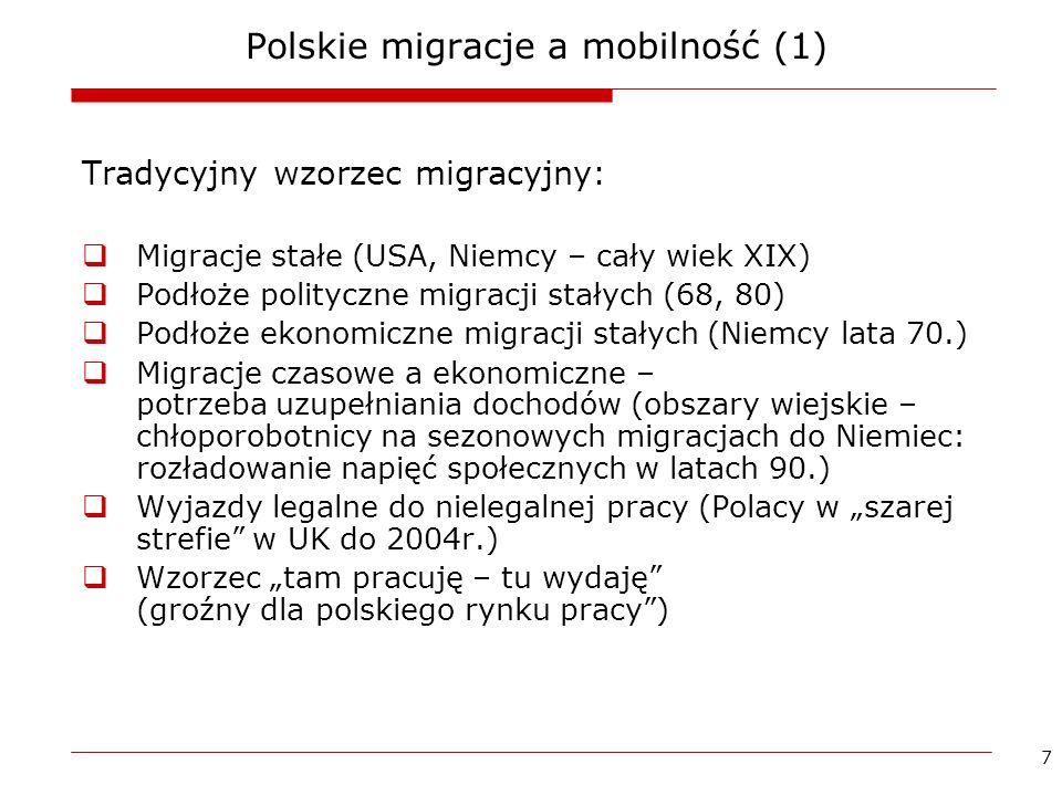 8 Polskie migracje a mobilność (2) Zmiana wzorca migracyjnego: Odejście od modelu stałej emigracji Migracja czasowa, jako element w cyklu kariery zawodowej Swoboda wyboru (w obrębie UE, czy szerzej) momentu i doświadczenia migracji /mobilności zagranicznej Powody ekonomiczne (tak), ale nie tylko (kształtowanie kariery zawodowej) Strategia życia a strategia zawodowa