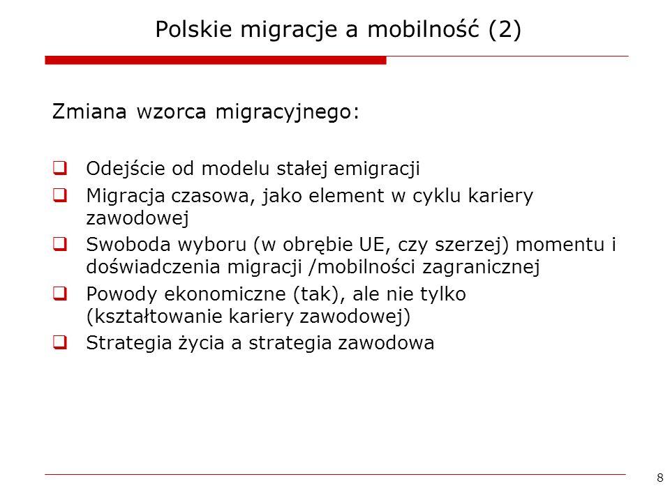8 Polskie migracje a mobilność (2) Zmiana wzorca migracyjnego: Odejście od modelu stałej emigracji Migracja czasowa, jako element w cyklu kariery zawo