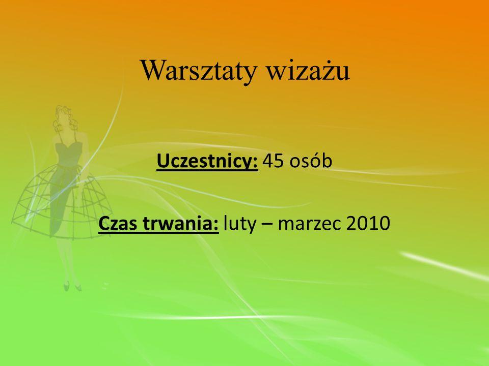 Warsztaty wizażu Uczestnicy: 45 osób Czas trwania: luty – marzec 2010