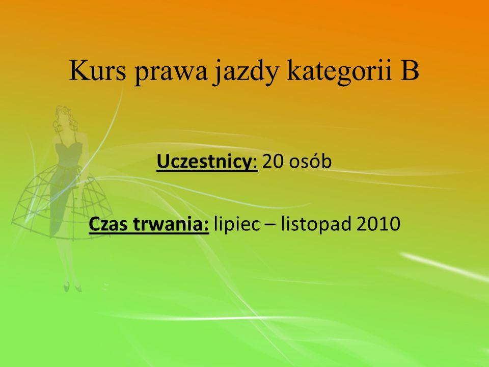 Uczestnicy: 20 osób Czas trwania: lipiec – listopad 2010 Kurs prawa jazdy kategorii B
