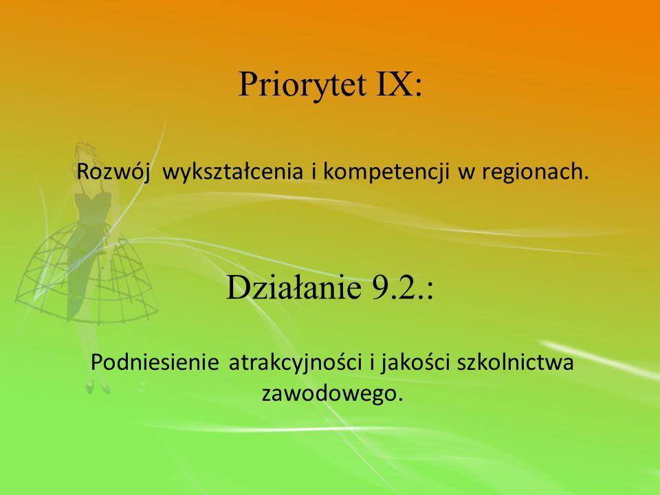 Priorytet IX: Rozwój wykształcenia i kompetencji w regionach. Działanie 9.2.: Podniesienie atrakcyjności i jakości szkolnictwa zawodowego.