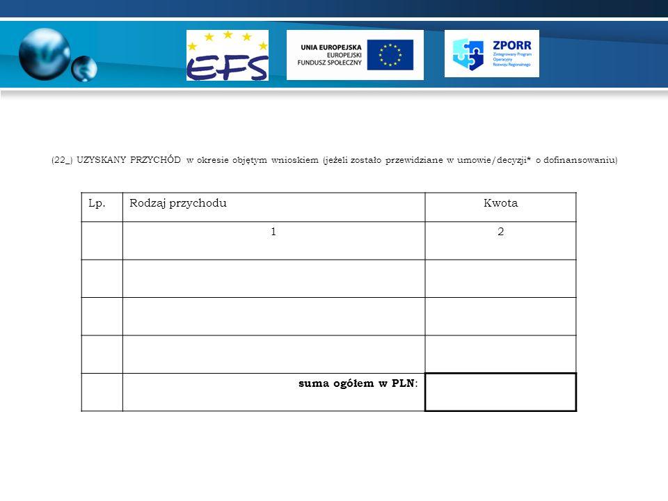 (22_) UZYSKANY PRZYCHÓD w okresie objętym wnioskiem (jeżeli zostało przewidziane w umowie/decyzji * o dofinansowaniu) Lp.Rodzaj przychoduKwota 12 suma