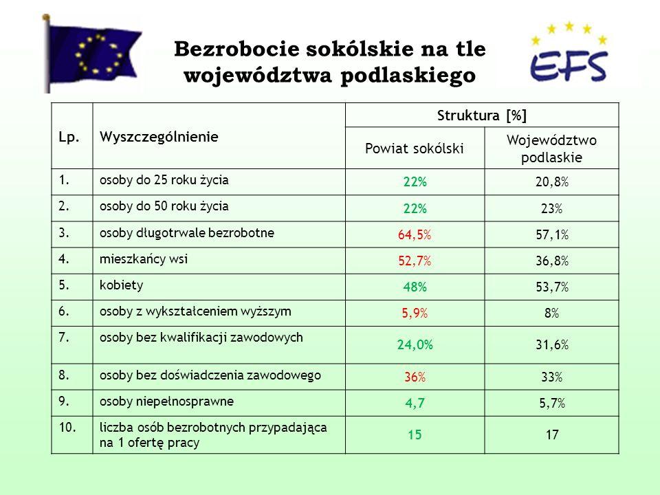 Bezrobocie sokólskie na tle województwa podlaskiego Lp.Wyszczególnienie Struktura [%] Powiat sokólski Województwo podlaskie 1.osoby do 25 roku życia 22%20,8% 2.osoby do 50 roku życia 22%23% 3.osoby długotrwale bezrobotne 64,5%57,1% 4.mieszkańcy wsi 52,7%36,8% 5.kobiety 48%53,7% 6.osoby z wykształceniem wyższym 5,9%8% 7.osoby bez kwalifikacji zawodowych 24,0%31,6% 8.osoby bez doświadczenia zawodowego 36%33% 9.osoby niepełnosprawne 4,75,7% 10.liczba osób bezrobotnych przypadająca na 1 ofertę pracy 1517