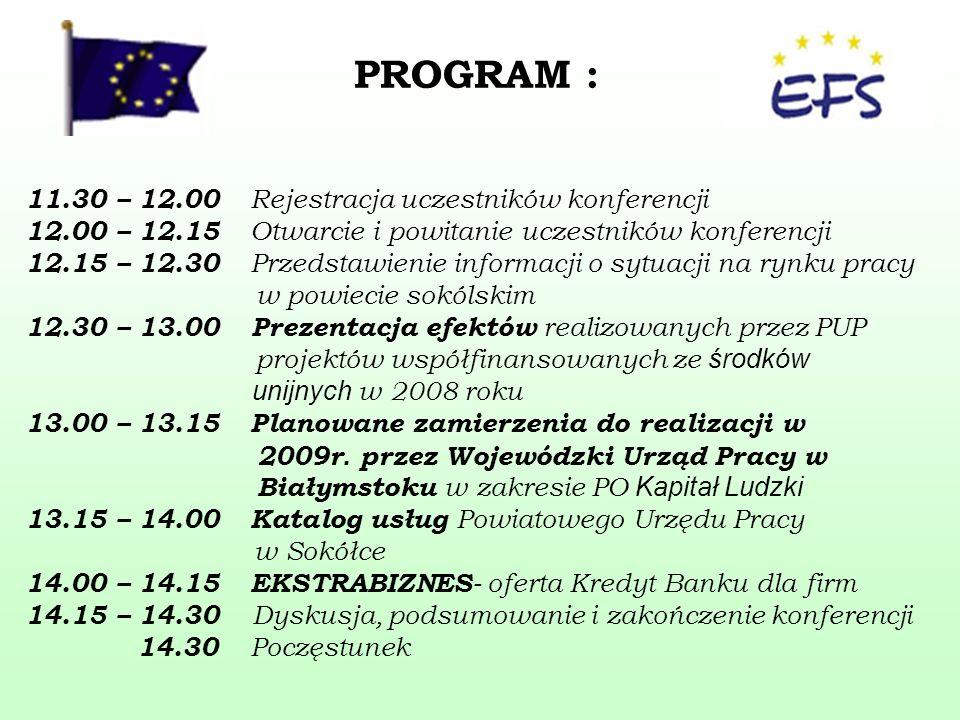 PROGRAM : 11.30 – 12.00 Rejestracja uczestników konferencji 12.00 – 12.15 Otwarcie i powitanie uczestników konferencji 12.15 – 12.30 Przedstawienie informacji o sytuacji na rynku pracy w powiecie sokólskim 12.30 – 13.00 Prezentacja efektów realizowanych przez PUP projektów współfinansowanych ze środków unijnych w 2008 roku 13.00 – 13.15 Planowane zamierzenia do realizacji w 2009r.