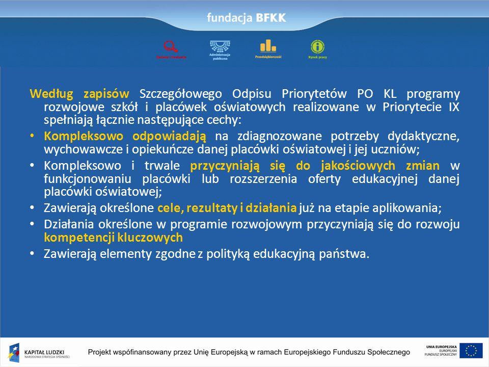 Według zapisów Szczegółowego Odpisu Priorytetów PO KL programy rozwojowe szkół i placówek oświatowych realizowane w Priorytecie IX spełniają łącznie n