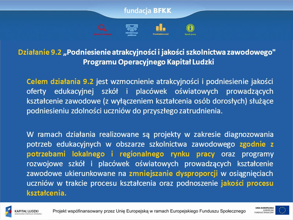 Działanie 9.2 Podniesienie atrakcyjności i jakości szkolnictwa zawodowego