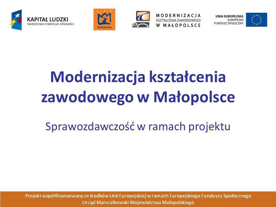 Modernizacja kształcenia zawodowego w Małopolsce Sprawozdawczość w ramach projektu