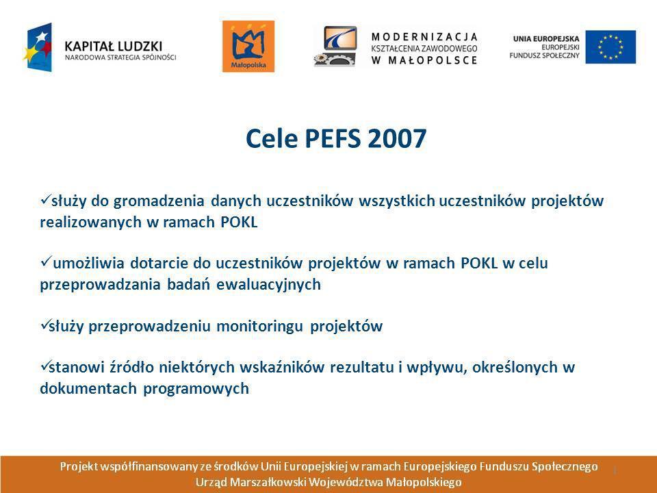 Cele PEFS 2007 służy do gromadzenia danych uczestników wszystkich uczestników projektów realizowanych w ramach POKL umożliwia dotarcie do uczestników