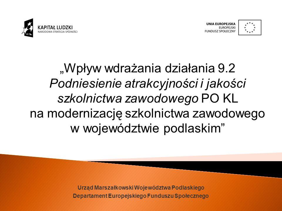 Urząd Marszałkowski Województwa Podlaskiego Departament Europejskiego Funduszu Społecznego Wpływ wdrażania działania 9.2 Podniesienie atrakcyjności i jakości szkolnictwa zawodowego PO KL na modernizację szkolnictwa zawodowego w województwie podlaskim