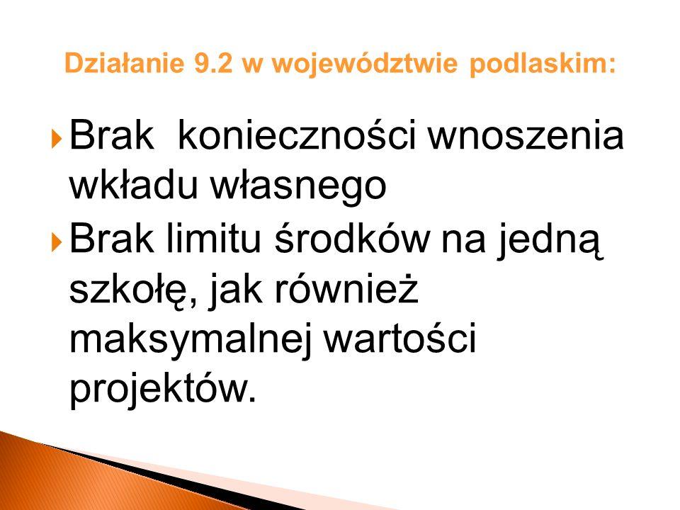 Działanie 9.2 w województwie podlaskim: Brak konieczności wnoszenia wkładu własnego Brak limitu środków na jedną szkołę, jak również maksymalnej wartości projektów.