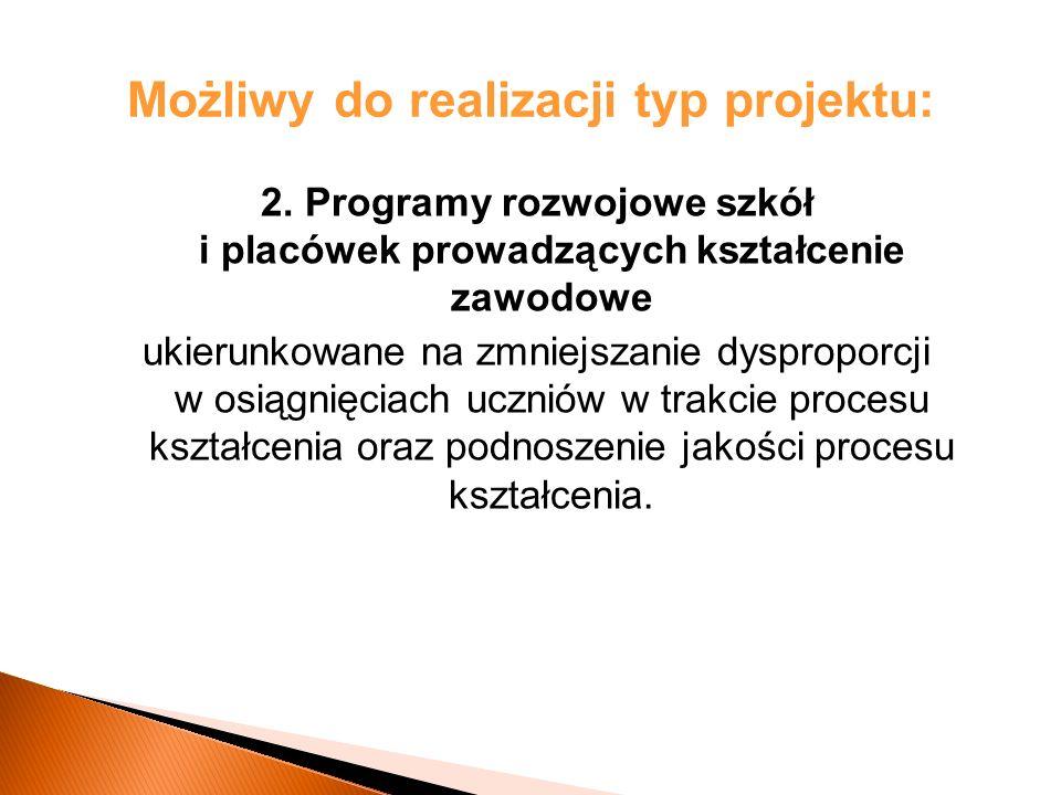 Możliwy do realizacji typ projektu: 2.