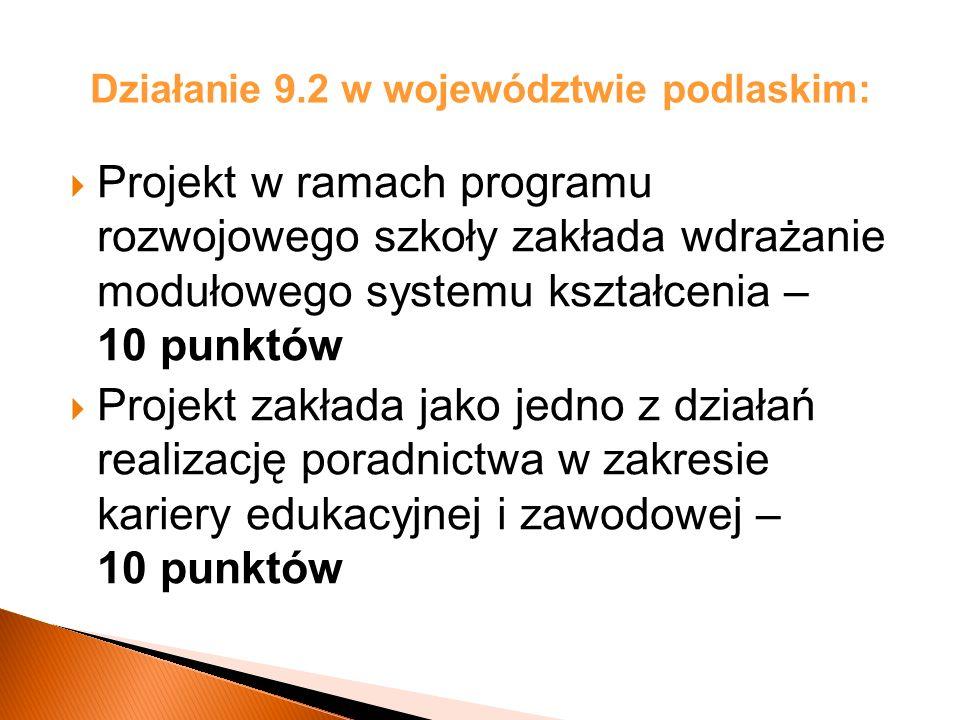 Działanie 9.2 w województwie podlaskim: Projekt w ramach programu rozwojowego szkoły zakłada wdrażanie modułowego systemu kształcenia – 10 punktów Projekt zakłada jako jedno z działań realizację poradnictwa w zakresie kariery edukacyjnej i zawodowej – 10 punktów
