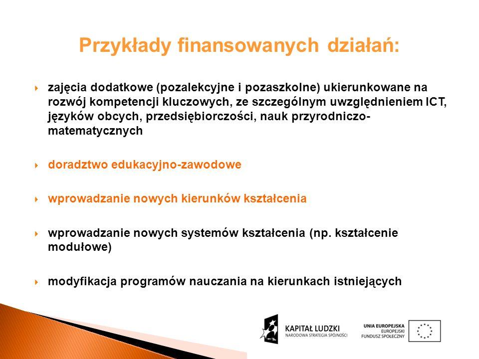 Przykłady finansowanych działań: zajęcia dodatkowe (pozalekcyjne i pozaszkolne) ukierunkowane na rozwój kompetencji kluczowych, ze szczególnym uwzględnieniem ICT, języków obcych, przedsiębiorczości, nauk przyrodniczo- matematycznych doradztwo edukacyjno-zawodowe wprowadzanie nowych kierunków kształcenia wprowadzanie nowych systemów kształcenia (np.