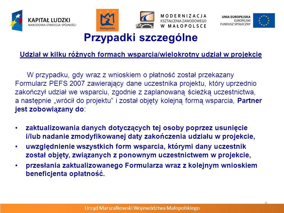 Urząd Marszałkowski Województwa Małopolskiego 10 Rezygnacja z udziału w projekcie wcześniejsze zakończenie lub przerwanie udziału w projekcie, wycofanie zgody na przetwarzanie danych osobowych, podpisanie deklaracji uczestnictwa w projekcie, lecz nie doszło do udziału w pierwszej formie wsparcia i nie zostały poniesione wydatki.