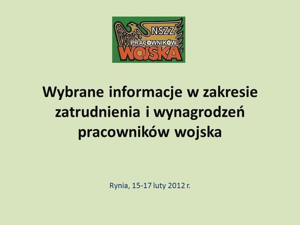 Wybrane informacje w zakresie zatrudnienia i wynagrodzeń pracowników wojska Rynia, 15-17 luty 2012 r.
