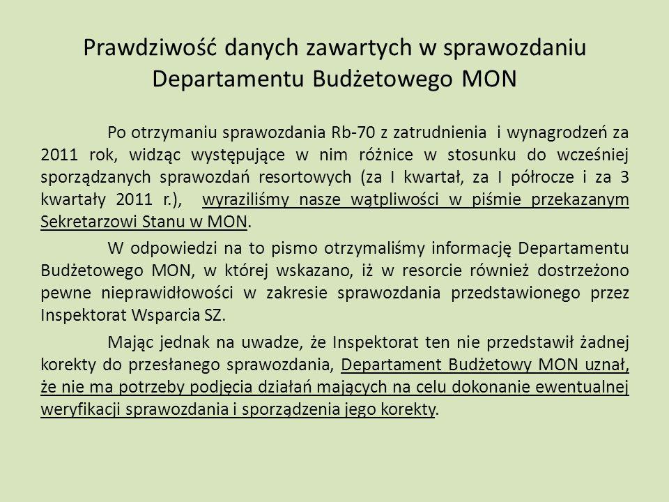 Prawdziwość danych zawartych w sprawozdaniu Departamentu Budżetowego MON Po otrzymaniu sprawozdania Rb-70 z zatrudnienia i wynagrodzeń za 2011 rok, widząc występujące w nim różnice w stosunku do wcześniej sporządzanych sprawozdań resortowych (za I kwartał, za I półrocze i za 3 kwartały 2011 r.), wyraziliśmy nasze wątpliwości w piśmie przekazanym Sekretarzowi Stanu w MON.