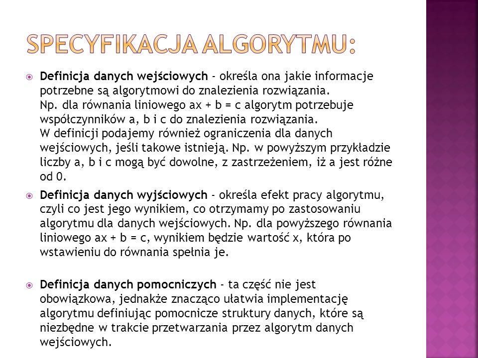 Opis słowny; Lista kroków; Pseudokod, pseudojęzyk; Schemat blokowy; Drzewo algorytmu; Dowolny język programowania.