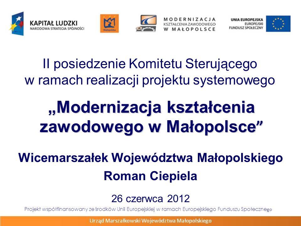 Modernizacja kształcenia zawodowego w Małopolsce Modernizacja kształcenia zawodowego w Małopolsce Wicemarszałek Województwa Małopolskiego Roman Ciepie