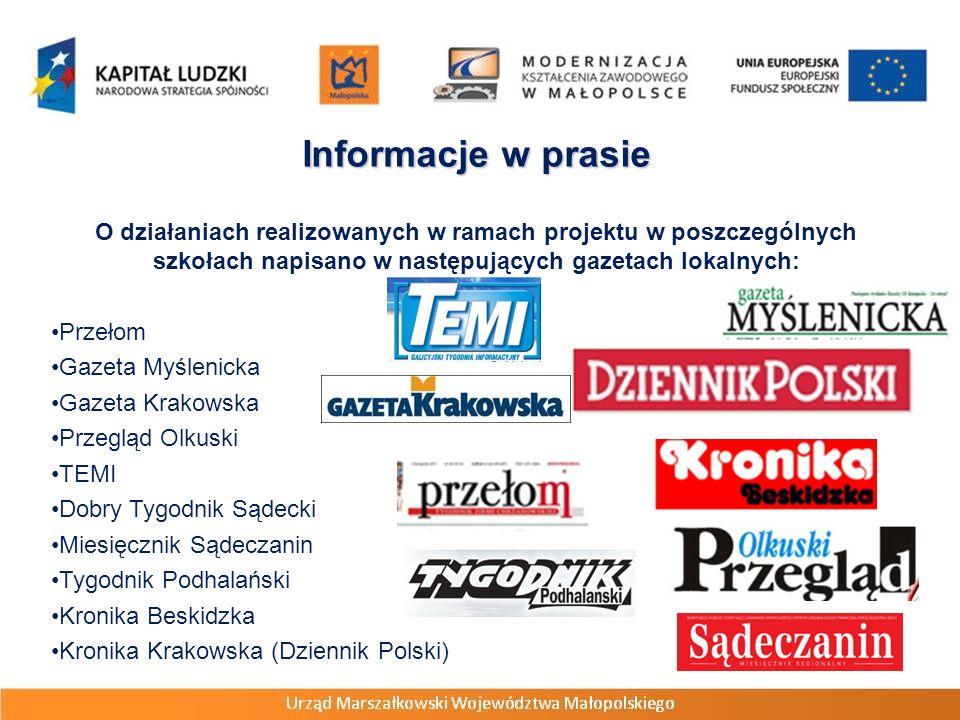 Informacje w prasie O działaniach realizowanych w ramach projektu w poszczególnych szkołach napisano w następujących gazetach lokalnych: Przełom Gazet
