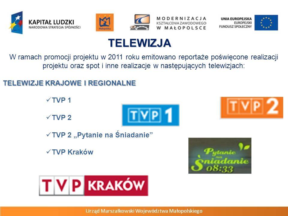 TELEWIZJA W ramach promocji projektu w 2011 roku emitowano reportaże poświęcone realizacji projektu oraz spot i inne realizacje w następujących telewizjach: TELEWIZJE KRAJOWE I REGIONALNE TVP 1 TVP 2 TVP 2 Pytanie na Śniadanie TVP Kraków
