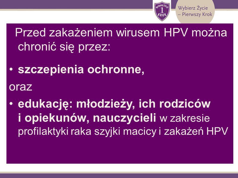 Przed zakażeniem wirusem HPV można chronić się przez: szczepienia ochronne, oraz edukację: młodzieży, ich rodziców i opiekunów, nauczycieli w zakresie