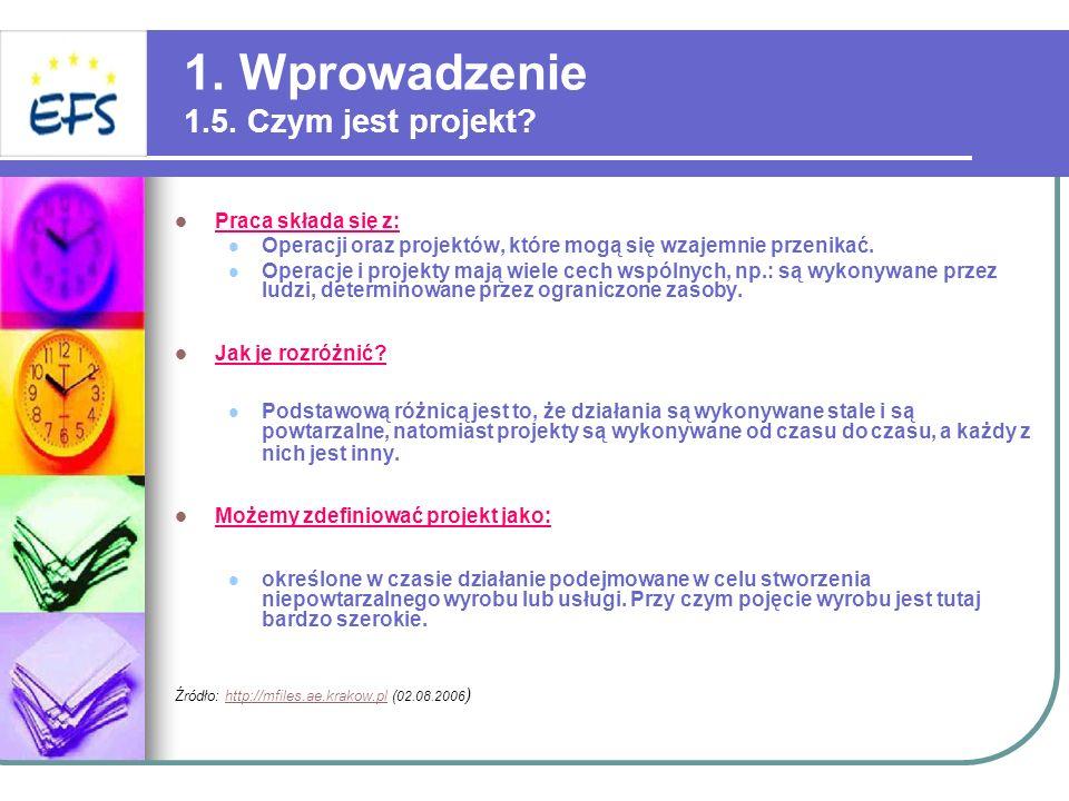 1. Wprowadzenie 1.5. Czym jest projekt? Praca składa się z: Operacji oraz projektów, które mogą się wzajemnie przenikać. Operacje i projekty mają wiel