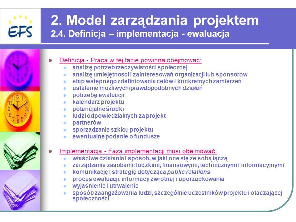 2. Model zarządzania projektem 2.4. Definicja – implementacja - ewaluacja Definicja - Praca w tej fazie powinna obejmować: analizę potrzeb rzeczywisto