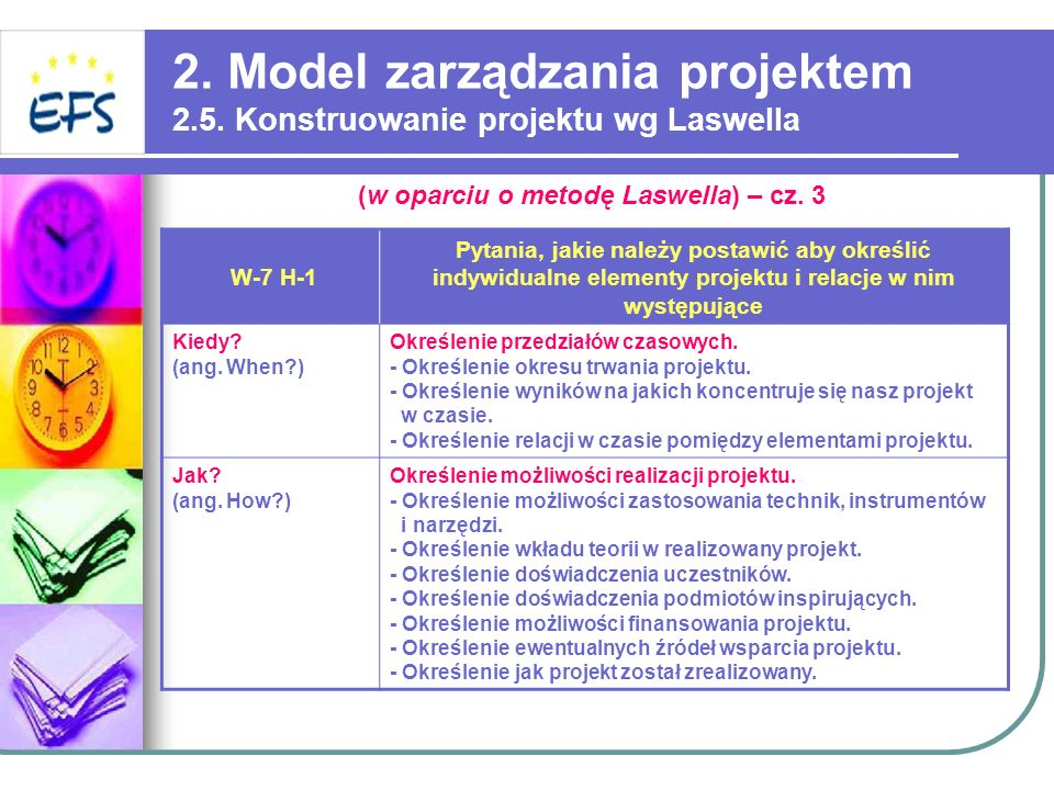2. Model zarządzania projektem 2.5. Konstruowanie projektu wg Laswella W-7 H-1 Pytania, jakie należy postawić aby określić indywidualne elementy proje