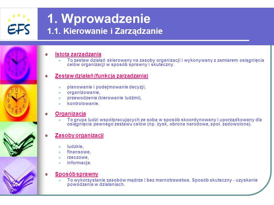 1. Wprowadzenie 1.1. Kierowanie i Zarządzanie Istota zarządzania To zestaw działań skierowany na zasoby organizacji i wykonywany z zamiarem osiągnięci