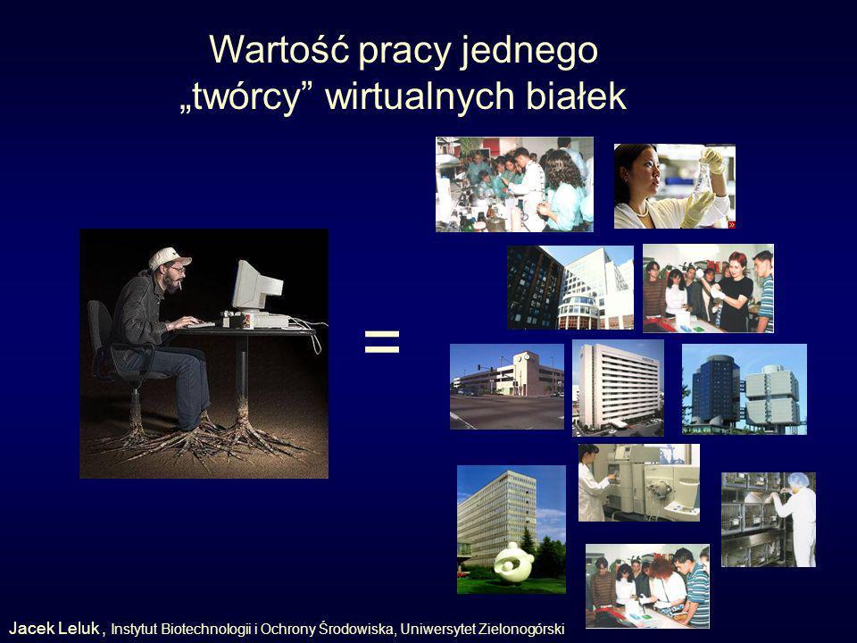 Wartość pracy jednego twórcy wirtualnych białek = Jacek Leluk, Instytut Biotechnologii i Ochrony Środowiska, Uniwersytet Zielonogórski