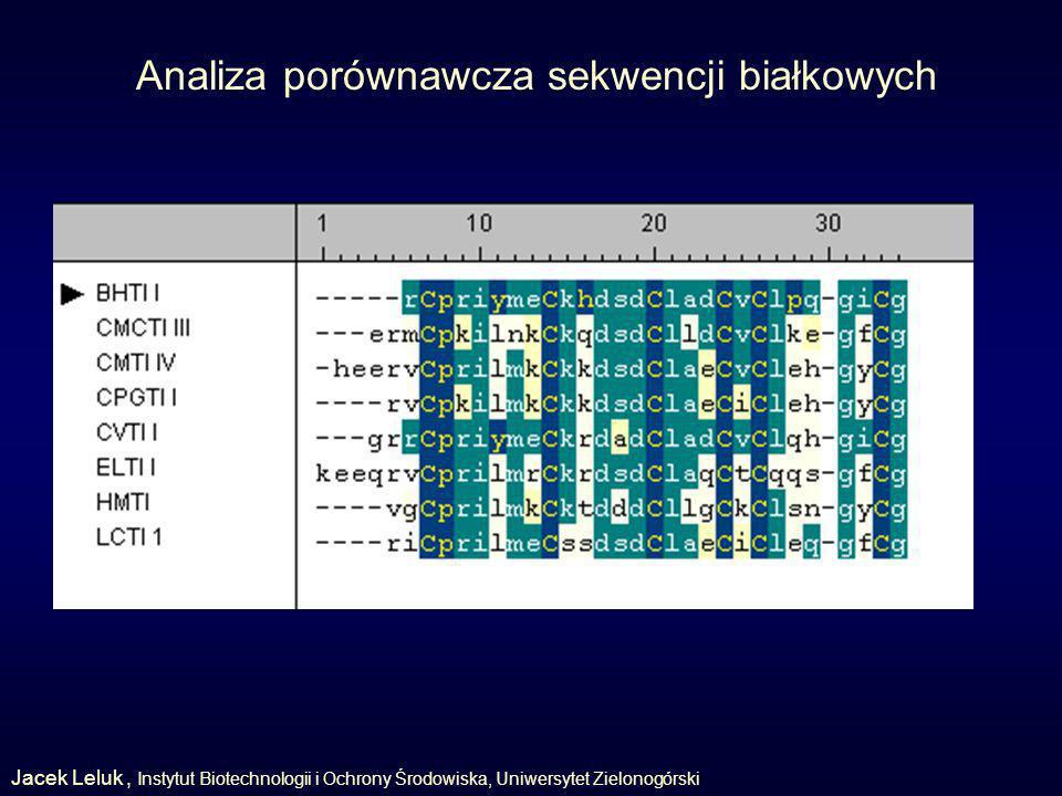 Analiza porównawcza sekwencji białkowych Jacek Leluk, Instytut Biotechnologii i Ochrony Środowiska, Uniwersytet Zielonogórski