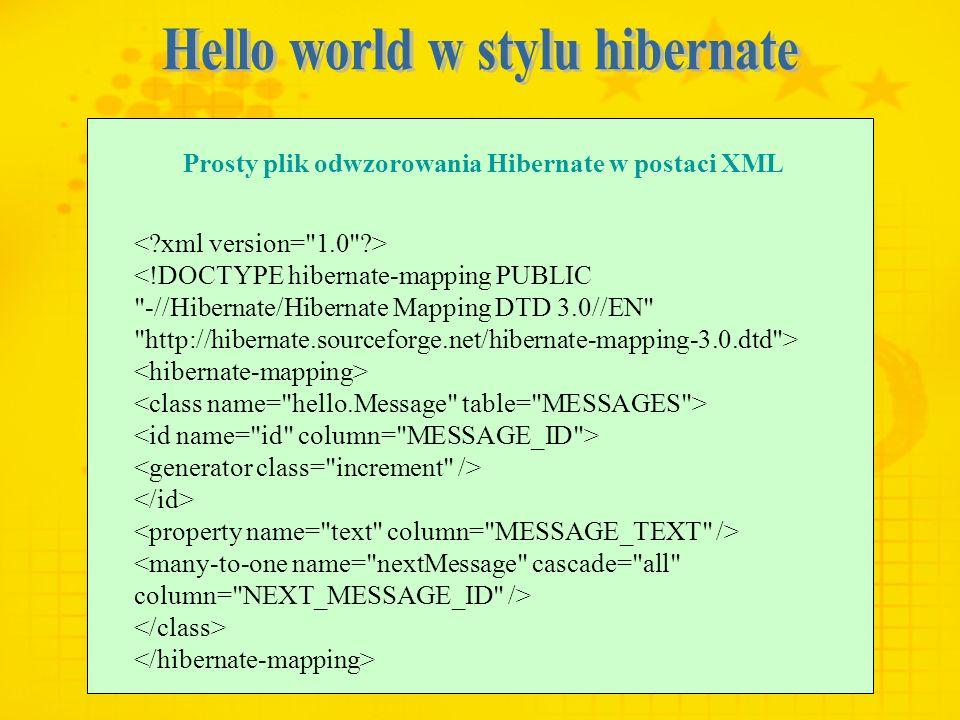 Prosty plik odwzorowania Hibernate w postaci XML <!DOCTYPE hibernate-mapping PUBLIC