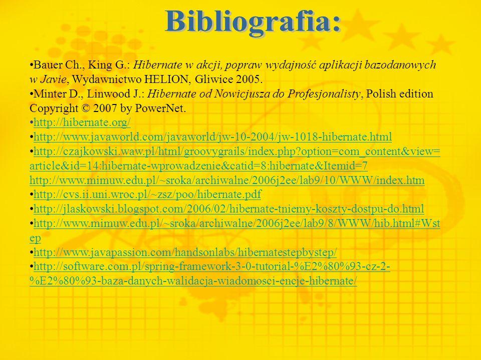 Bauer Ch., King G.: Hibernate w akcji, popraw wydajność aplikacji bazodanowych w Javie, Wydawnictwo HELION, Gliwice 2005. Minter D., Linwood J.: Hiber