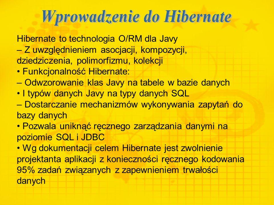Hibernate to technologia O/RM dla Javy – Z uwzględnieniem asocjacji, kompozycji, dziedziczenia, polimorfizmu, kolekcji Funkcjonalność Hibernate: – Odw