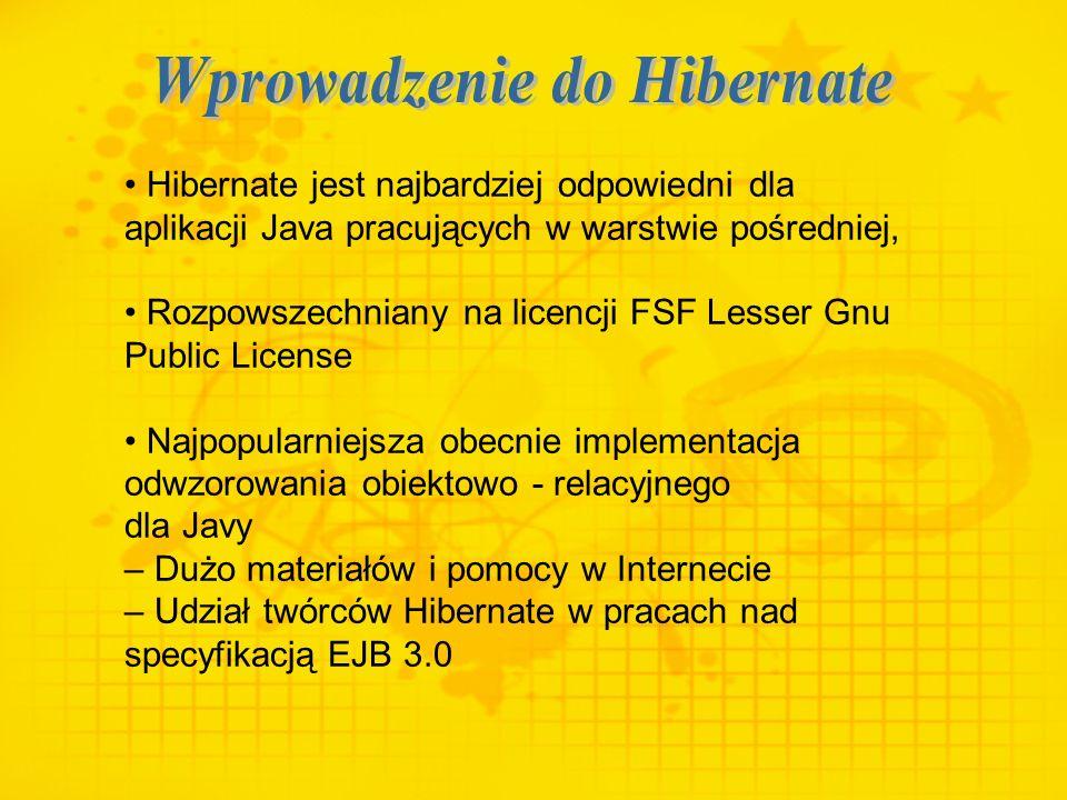 Hibernate jest najbardziej odpowiedni dla aplikacji Java pracujących w warstwie pośredniej, Rozpowszechniany na licencji FSF Lesser Gnu Public License