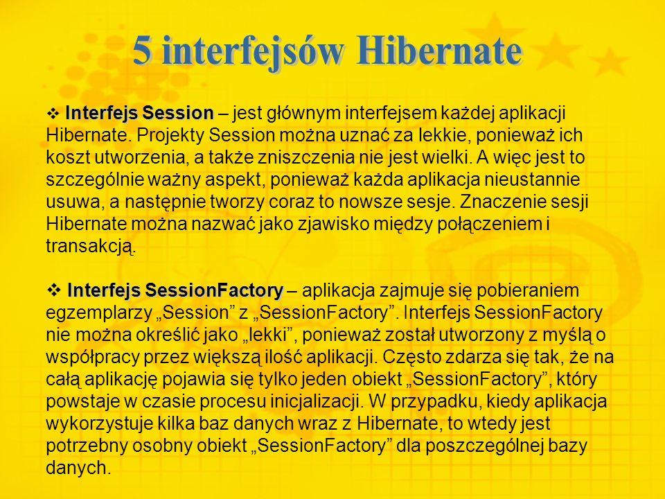 Interfejs Session Interfejs Session – jest głównym interfejsem każdej aplikacji Hibernate. Projekty Session można uznać za lekkie, ponieważ ich koszt