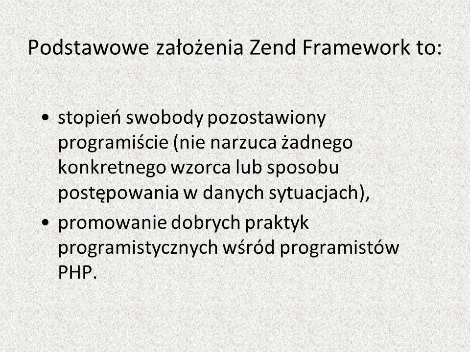 Podstawowe założenia Zend Framework to: stopień swobody pozostawiony programiście (nie narzuca żadnego konkretnego wzorca lub sposobu postępowania w danych sytuacjach), promowanie dobrych praktyk programistycznych wśród programistów PHP.