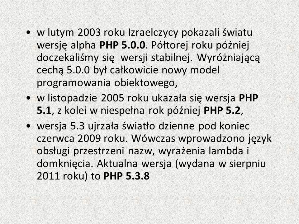 w lutym 2003 roku Izraelczycy pokazali światu wersję alpha PHP 5.0.0.