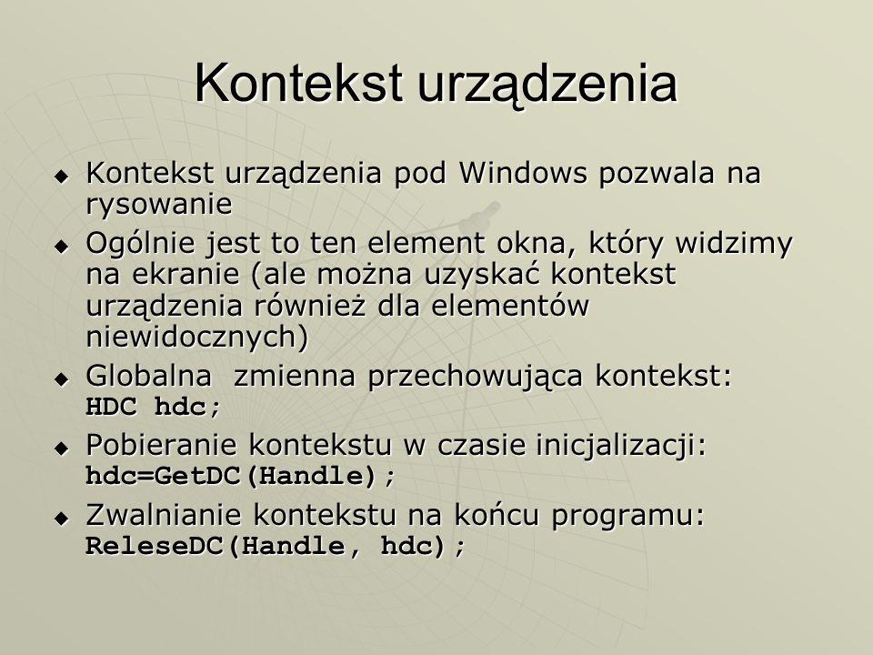 Kontekst urządzenia Kontekst urządzenia pod Windows pozwala na rysowanie Kontekst urządzenia pod Windows pozwala na rysowanie Ogólnie jest to ten elem