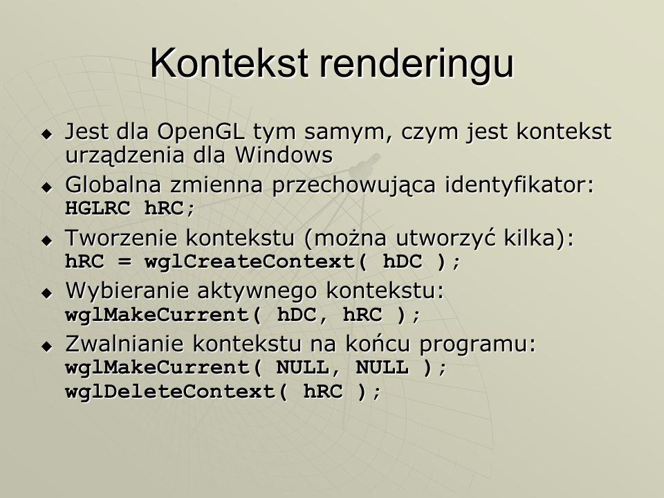 Kontekst renderingu Jest dla OpenGL tym samym, czym jest kontekst urządzenia dla Windows Jest dla OpenGL tym samym, czym jest kontekst urządzenia dla