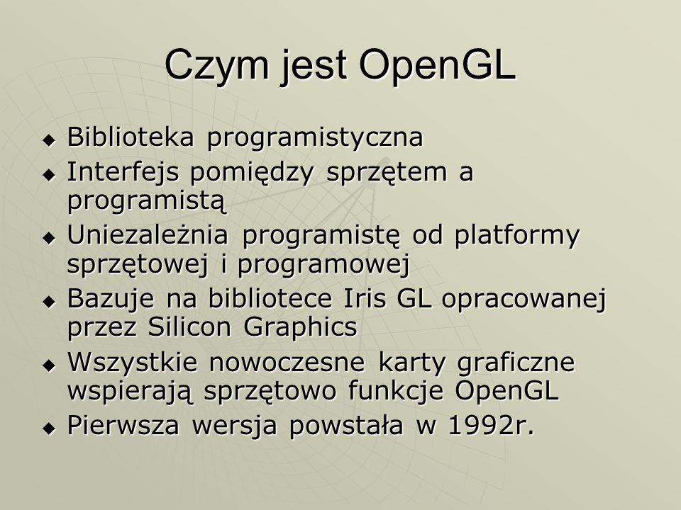 Zalety OpenGL Całkowite uniezależnienie od możliwości karty graficznej Całkowite uniezależnienie od możliwości karty graficznej Prosty i przejrzysty kod programu Prosty i przejrzysty kod programu Program wygląda prawie tak samo we wszystkich językach programowania i na wszystkich platformach systemowych Program wygląda prawie tak samo we wszystkich językach programowania i na wszystkich platformach systemowych Biblioteka jest darmowa i można jej używać we własnych programach bez ograniczeń Biblioteka jest darmowa i można jej używać we własnych programach bez ograniczeń