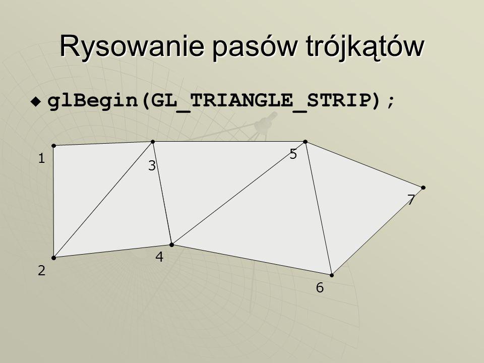 Rysowanie pasów trójkątów glBegin(GL_TRIANGLE_STRIP); 1 2 3 4 5 6 7