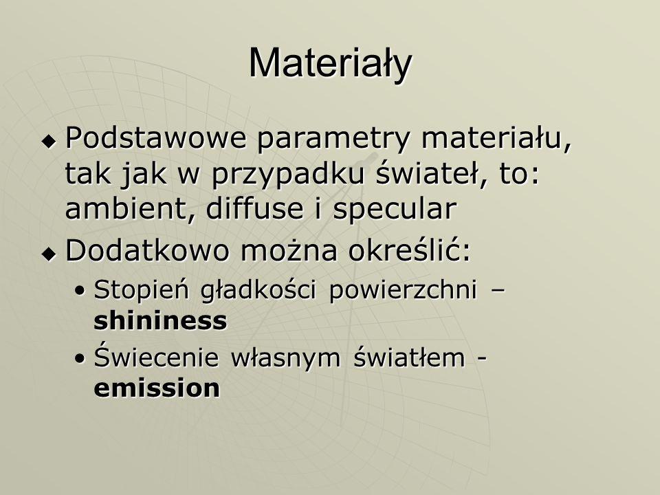 Materiały Podstawowe parametry materiału, tak jak w przypadku świateł, to: ambient, diffuse i specular Podstawowe parametry materiału, tak jak w przyp